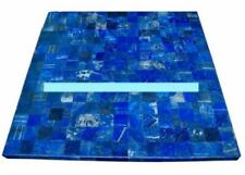 2' Blue Lapis Black Marble Table Top Inlay Stones Art Handmade Home Decor