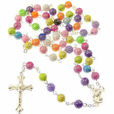 Pastel coloured rainbow plastic rosary beads 56cm length 8mm silver detail