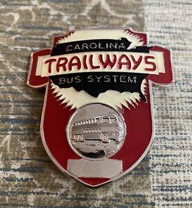 CAROLINA TRAILWAYS BUS SYSTEM HAT BADGE, NEW OLD STOCK