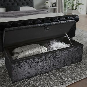 Luxury crushed velvet gas lift ottoman storage box RRP £169.99