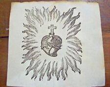 SANTINO ANTICO Sacro Cuore di Gesu' con fiamme- primo '800 STAMPA Ex VOTO old