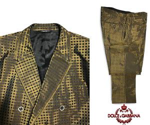 Dolce and Gabbana Dark Gold Three Piece Print Jacquard Silk Size 54 Men's Suit