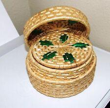 Hand Crafted Round Natural Wicker Coaster Set w/ Wicker Storage Basket