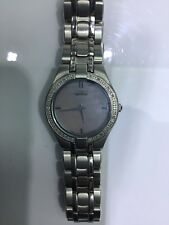 Womens Stainless Steal Diamond Bazel Citizen Eco-Drive Pearl Face Watch