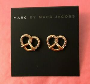 Marc By Marc Jacobs Pretzel Earrings Gold Tone