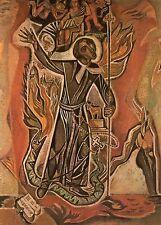 Alte Kunstpostkarte - Fresko von Jaap Min - Das Flammengebet