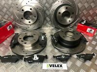 FRONT & REAR DRILLED & GROOVED BRAKE DISCS WITH BREMBO PADS BMW Z4 E86 2003-2009