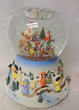 Vintage Partylite Christmas Santa Elf Musical Animated Snow Globe Candle Holder