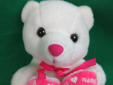 HAPPY MOTHER'S DAY SPANISH PINK WHITE TEDDY BEAR FELIZ DIA MAMA PLUSH STUFFED