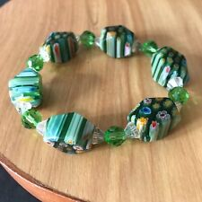 & Clear Crystal Stretch Lucite Little Flowers Bracelet Green