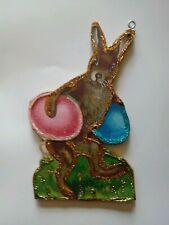 Easter Rabbit Running with Eggs~ Vtg Image ~ Glitter Wood Ornament