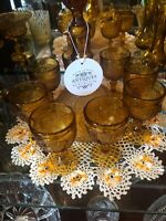Indiana Amber Tiara Sandwich Glass Decanter w/ stopper 8 Footed Sherry Glasses