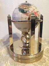 "6"" Gemstone Globe w/Opal Opalite Ocean & Gold Galleon Spin Base"
