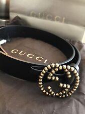 GUCCI Gold Studded Interlocking GG Logo Buckle Leather Belt Size 90 Medium