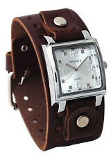 Nemesis BBB516S Men's Dark Brown Wide Leather Cuff Band Analog Silver Dial Watch