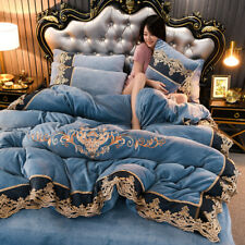 4pcs Bedding set Super warm soft Duvet cover Flat sheet 2 Pillowcase embroidered