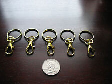 5 Gold Key Rings With Lobster Snap Hook / Key Chain w Swivel Clips / USA SELLER