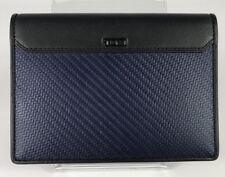 Tumi CFX Carbon Fiber Passport Cover Navy Blue Black Leather Trim 113870NVY