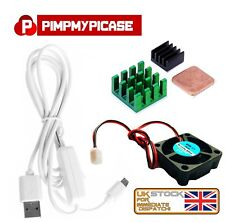 5v Fan Black Green Copper Heatsinks White USB On/Off Power Raspberry Pi 3