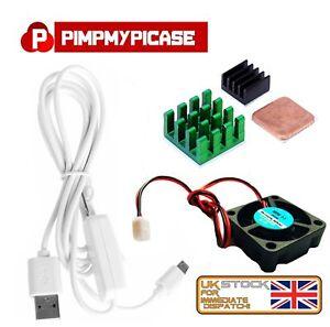 5v Fan Black Green Copper Heatsinks White USB On/Off Power Raspberry Pi 3