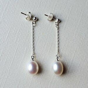 Freshwater Pearl Dangle Post Earrings Sterling Silver  9 mm White Pearl