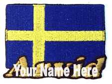 Flag of Sweden Custom Iron-on Patch With Name Personalized Free