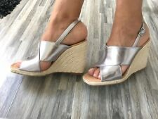 ZARA SILVER JUTE WEDGE SANDALS WITH CROSSOVER STRAPS SIZE UK 3 EU 36 US 6