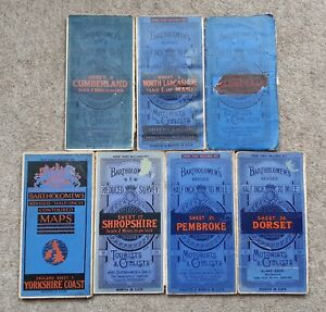 7 x old BARTHOLOMEW'S Half-inch maps on cloth