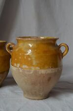 "Small antique French yellow ochre mustard glaze ""confit"" pot, S W France"