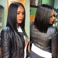"12"" Human Hair Lace Front Wig Centre Part BOB Short Straight Brazilian Virgin H"