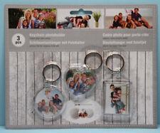 Schlüsselanhänger mit Fotohalter Fotorahmen für Foto 3er Set Acryl Herz Kreis