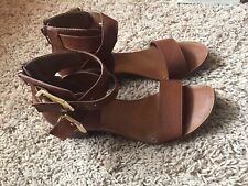37918ff0156 Forever 21 Brown Leather Ankle Strap Zip Back Stacked Wood Heel Sandals 8.5  9