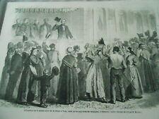 Gravure 1861 - L'empereur sur la terrasse de la villa de Strauss à Vichy