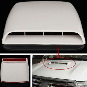 White Car Decorative Air Flow Intake Hood Scoop Vent Bonnet Cover ABS Universal