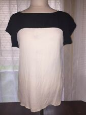 KATE SPADE LIVE COLORFULLY Size 8 Black And White/ivory Blouse Silk *flawed*