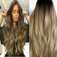 Women Long Curly Hair Full Wig Heat Resistant Synthetic Hair Blonde Wigs Ombre