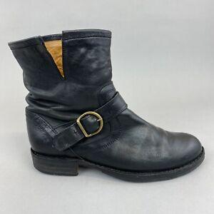 FIORENTINI BAKER P-Eli Black Leather Ankle Zip Up Buckle Biker Gothic Boots UK6