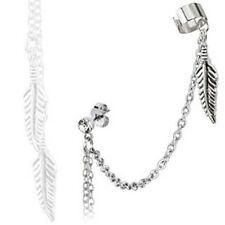 316L Surgical Steel CZ Stud Earring w/Feather Dangles & Chain Link End Cuff Clip