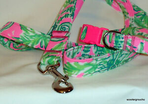 """NEW Lilly Pulitzer 2020 """"Hanging Around"""" Handcrafted Dog Collar & Leash Set"""