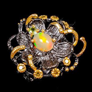 Handmade Fine Art Opal Ring Silver 925 Sterling  Size 8.5 /R178799