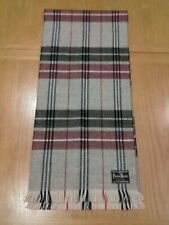 Pierre Henri Men's Tartan Pattern Scarf. Grey. Burgundy. Black. Made in France