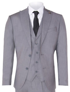 New Mens 3 Piece Suit Plain Grey Classic Tailored Fit Smart Casual 1920s Formal