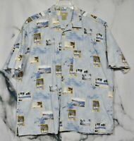 NATURAL ISSUE Blue Multicolor Palm Tree Photo Print Shirt 2XLT Short Sleeves