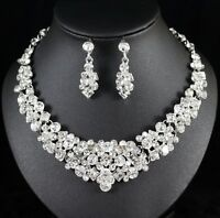 Crystal Austrian Rhinestone Necklace Earrings Set Bridal Prom Pageant Party N107