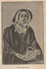 A9542 Vecchia ginevrina - Xilografia - Stampa Antica del 1906 - Engraving