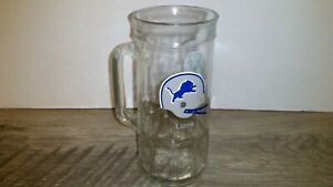 Vintage 1980s Detroit Lions Helmet NFL Glass Beer Mug Stein Cup Fisher Peanuts