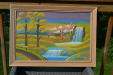 Vintage Framed Picture Wall Painting Wayne Clemons Waterfalls 1963 Signed