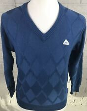 MONTE CARLO COLLECTION Men's V Neck Sweater Argyle Design Wool Sz Medium M DS1