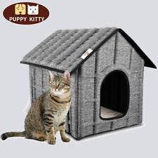 Katzenhaus Faltbar Katzenhütte Outdoor Hundebett Katzenhöhle Haustierhaus Grau