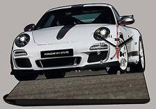 VEHICULE DE SPORT PORSCHE 911 GT3 RS-01 EN HORLOGE MINIATURE SUR SOCLE